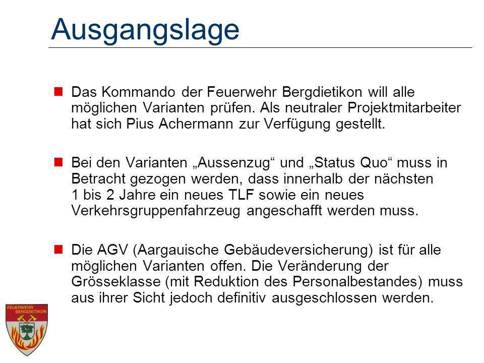 Ausgangslage Das Kommando der Feuerwehr Bergdietikon will alle möglichen Varianten prüfen.