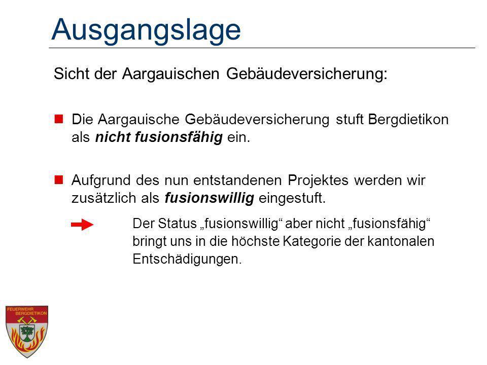 Ausgangslage Sicht der Aargauischen Gebäudeversicherung: Die Aargauische Gebäudeversicherung stuft Bergdietikon als nicht fusionsfähig ein. Aufgrund d