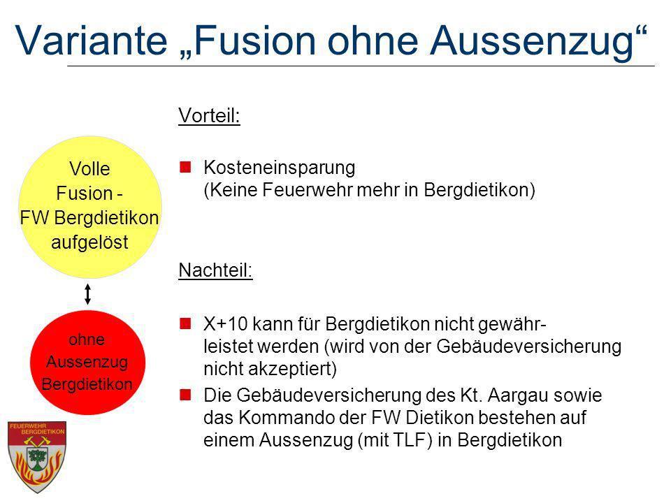 Volle Fusion - FW Bergdietikon aufgelöst Variante Fusion ohne Aussenzug Vorteil: Kosteneinsparung (Keine Feuerwehr mehr in Bergdietikon) Nachteil: X+10 kann für Bergdietikon nicht gewähr- leistet werden (wird von der Gebäudeversicherung nicht akzeptiert) Die Gebäudeversicherung des Kt.