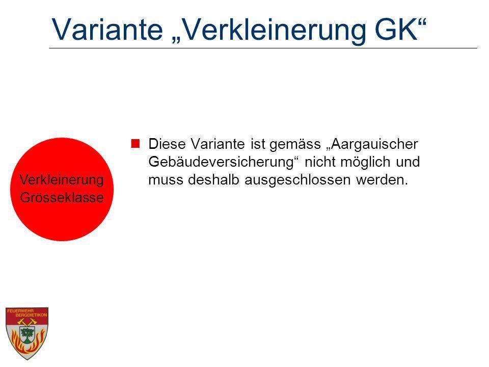 Variante Verkleinerung GK Diese Variante ist gemäss Aargauischer Gebäudeversicherung nicht möglich und muss deshalb ausgeschlossen werden. Verkleineru