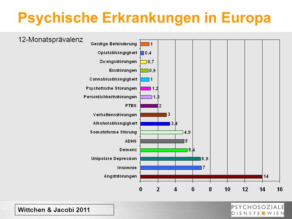 Psychische Erkrankungen in Europa Wittchen & Jacobi 2011 12-Monatsprävalenz
