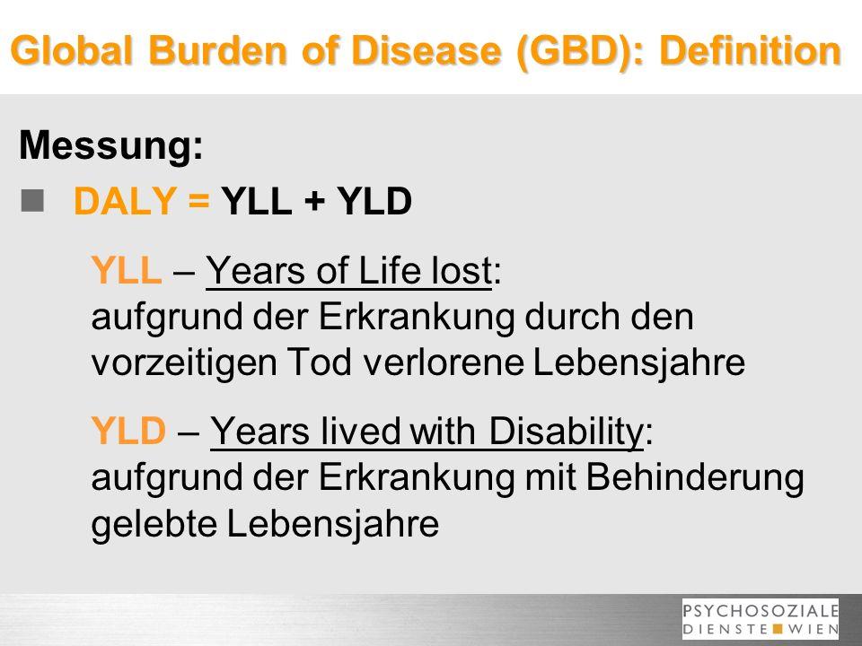 Global Burden of Disease (GBD): Definition Messung: DALY = YLL + YLD YLL – Years of Life lost: aufgrund der Erkrankung durch den vorzeitigen Tod verlorene Lebensjahre YLD – Years lived with Disability: aufgrund der Erkrankung mit Behinderung gelebte Lebensjahre