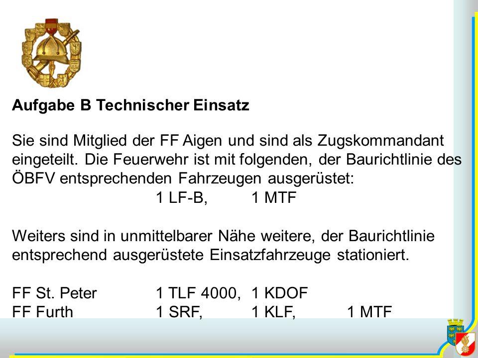 Aufgabe B Technischer Einsatz Sie sind Mitglied der FF Aigen und sind als Zugskommandant eingeteilt. Die Feuerwehr ist mit folgenden, der Baurichtlini