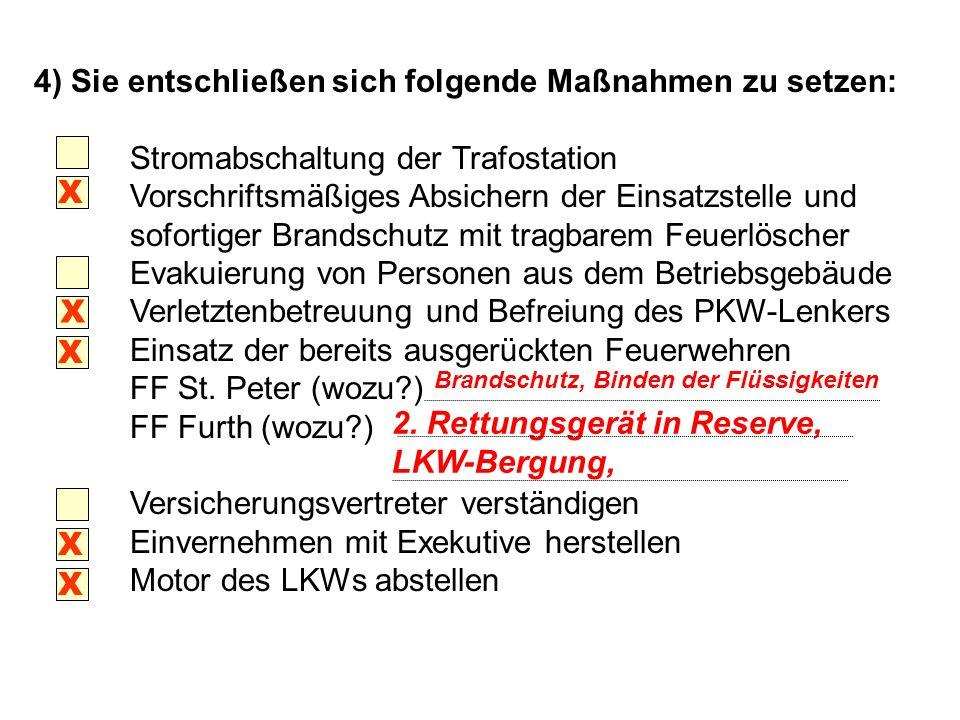 4) Sie entschließen sich folgende Maßnahmen zu setzen: Stromabschaltung der Trafostation Vorschriftsmäßiges Absichern der Einsatzstelle und sofortiger