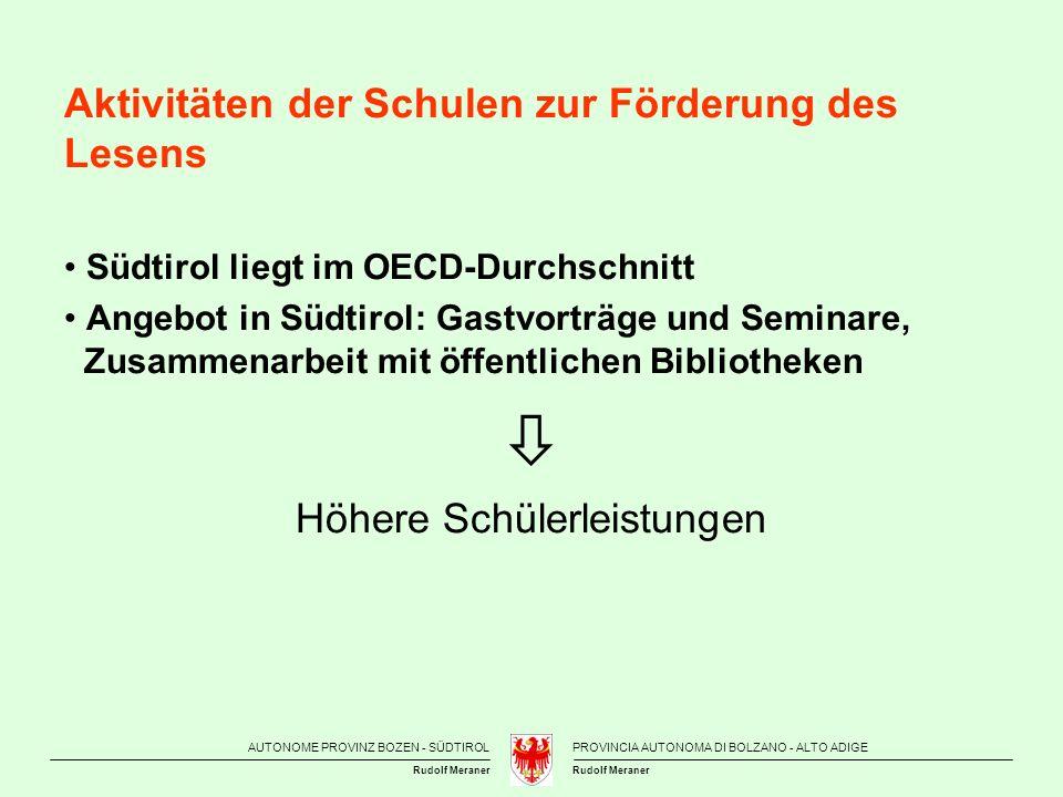 AUTONOME PROVINZ BOZEN - SÜDTIROLPROVINCIA AUTONOMA DI BOLZANO - ALTO ADIGE Rudolf Meraner Aktivitäten der Schulen zur Förderung des Lesens Südtirol l