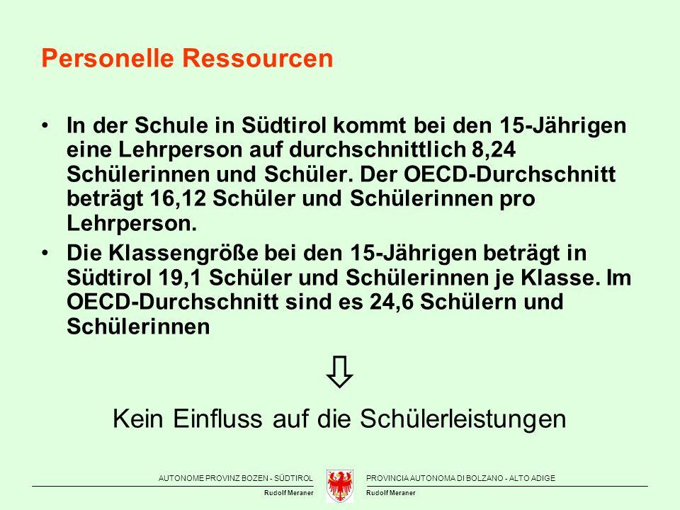AUTONOME PROVINZ BOZEN - SÜDTIROLPROVINCIA AUTONOMA DI BOLZANO - ALTO ADIGE Rudolf Meraner Personelle Ressourcen In der Schule in Südtirol kommt bei d