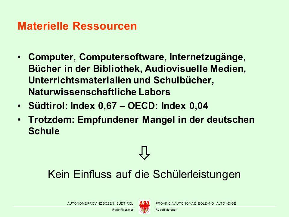 AUTONOME PROVINZ BOZEN - SÜDTIROLPROVINCIA AUTONOMA DI BOLZANO - ALTO ADIGE Rudolf Meraner Materielle Ressourcen Computer, Computersoftware, Internetz