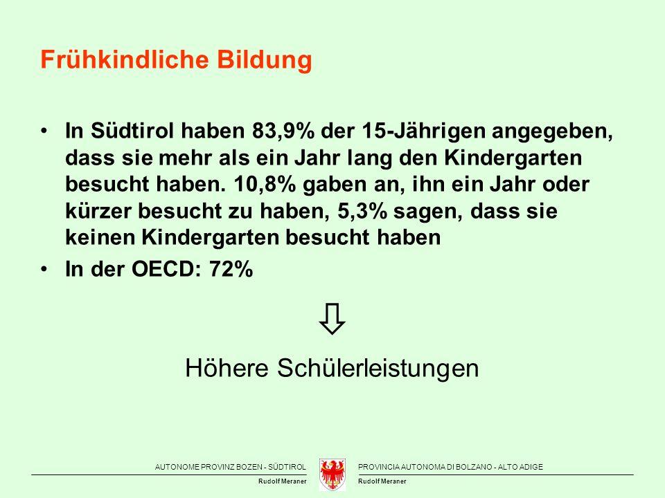 AUTONOME PROVINZ BOZEN - SÜDTIROLPROVINCIA AUTONOMA DI BOLZANO - ALTO ADIGE Rudolf Meraner Frühkindliche Bildung In Südtirol haben 83,9% der 15-Jährig