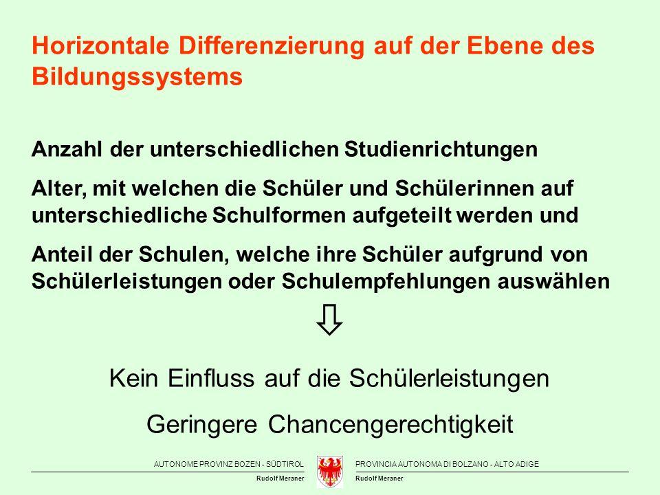 AUTONOME PROVINZ BOZEN - SÜDTIROLPROVINCIA AUTONOMA DI BOLZANO - ALTO ADIGE Rudolf Meraner Horizontale Differenzierung auf der Ebene des Bildungssyste