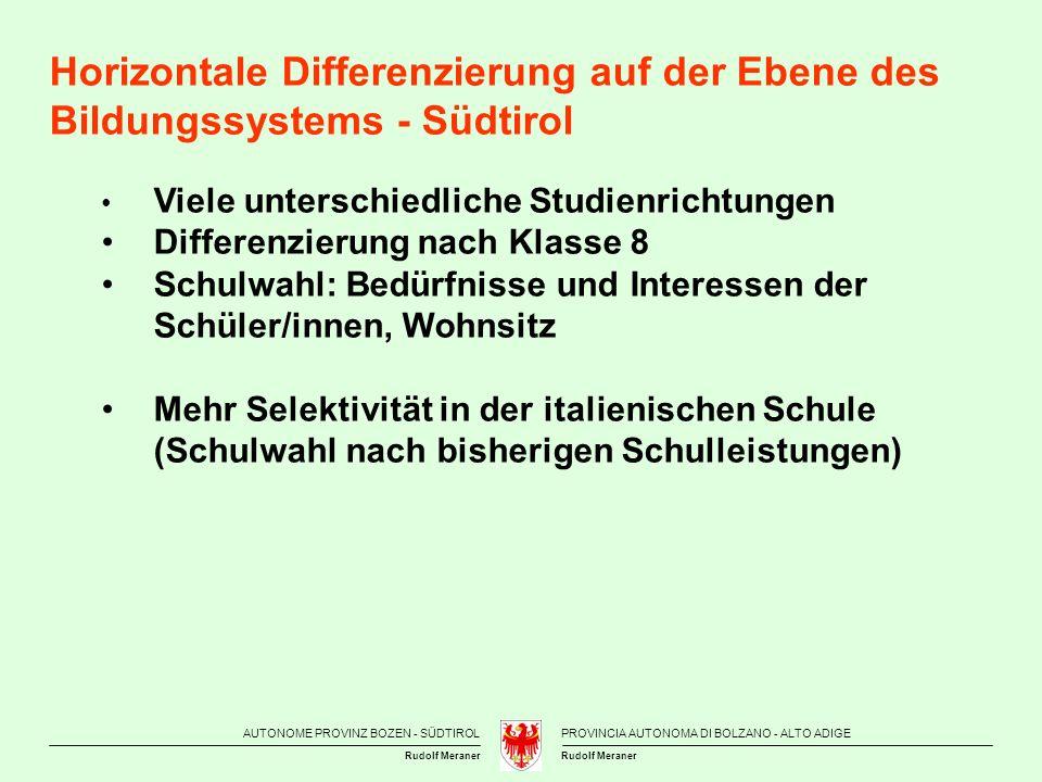 AUTONOME PROVINZ BOZEN - SÜDTIROLPROVINCIA AUTONOMA DI BOLZANO - ALTO ADIGE Rudolf Meraner Personelle Ressourcen In der Schule in Südtirol kommt bei den 15-Jährigen eine Lehrperson auf durchschnittlich 8,24 Schülerinnen und Schüler.