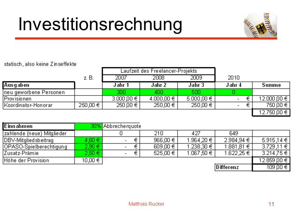 Matthias Rucker 11 Investitionsrechnung