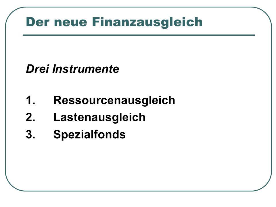 Der neue Finanzausgleich Drei Instrumente 1.Ressourcenausgleich 2.Lastenausgleich 3.Spezialfonds