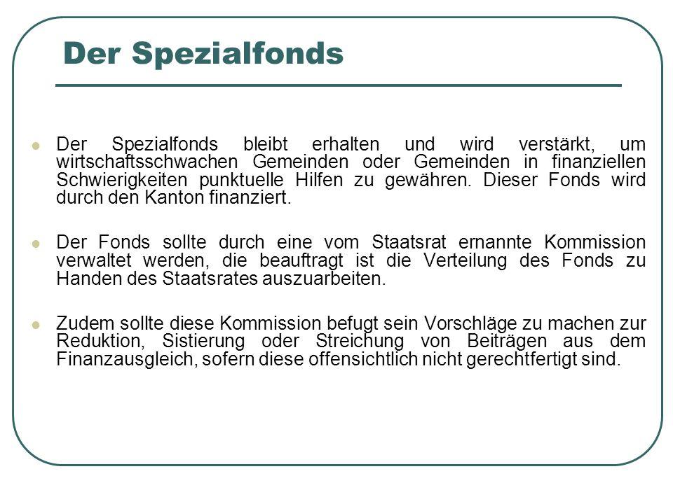 Der Spezialfonds Der Spezialfonds bleibt erhalten und wird verstärkt, um wirtschaftsschwachen Gemeinden oder Gemeinden in finanziellen Schwierigkeiten