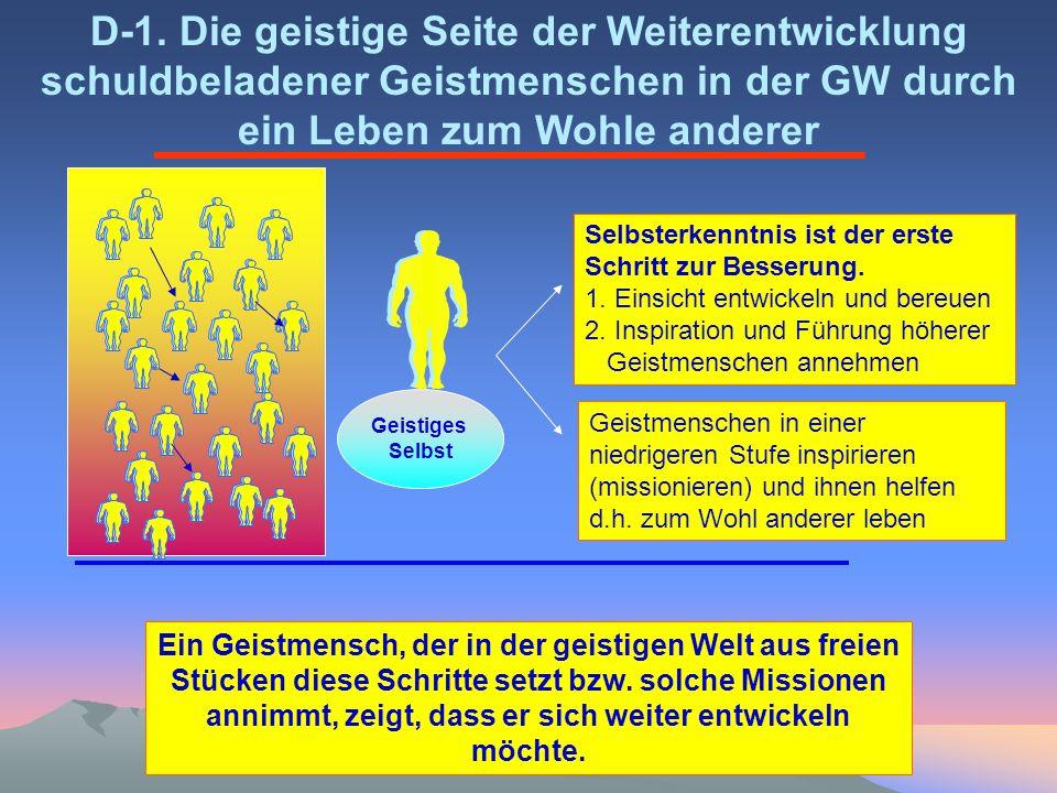 Geistiges Selbst D-1. Die geistige Seite der Weiterentwicklung schuldbeladener Geistmenschen in der GW durch ein Leben zum Wohle anderer Selbsterkennt