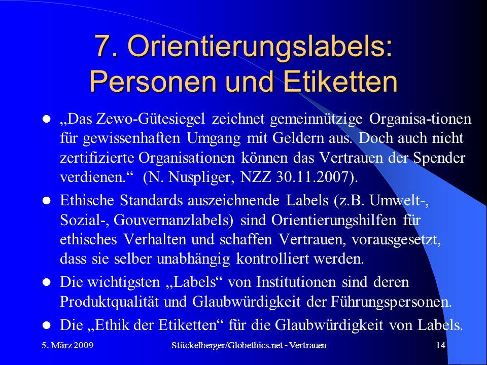 7. Orientierungslabels: Personen und Etiketten Das Zewo-Gütesiegel zeichnet gemeinnützige Organisa-tionen für gewissenhaften Umgang mit Geldern aus. D