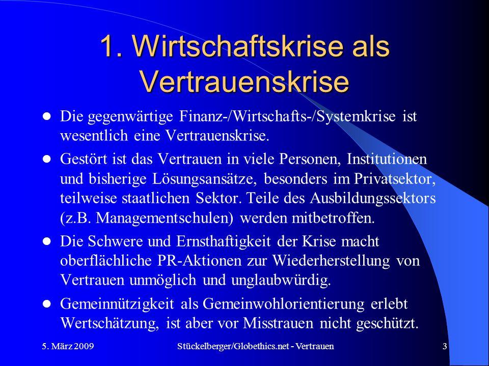 1. Wirtschaftskrise als Vertrauenskrise Die gegenwärtige Finanz-/Wirtschafts-/Systemkrise ist wesentlich eine Vertrauenskrise. Gestört ist das Vertrau