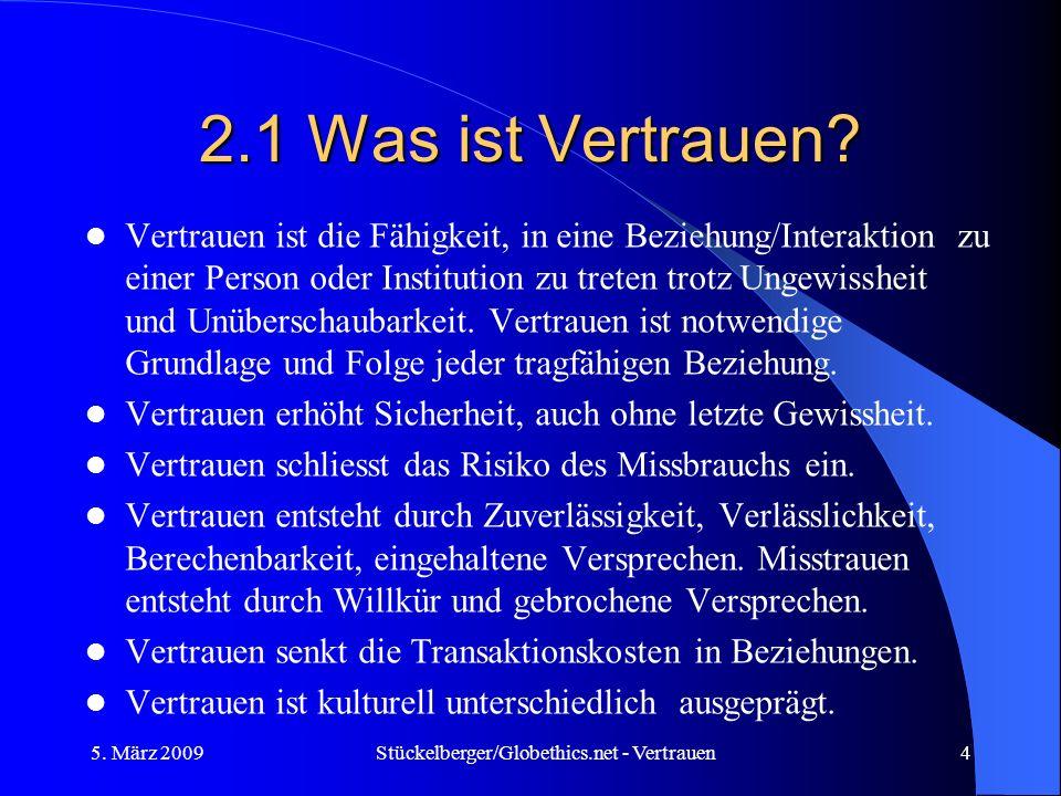 2.1 Was ist Vertrauen? Vertrauen ist die Fähigkeit, in eine Beziehung/Interaktion zu einer Person oder Institution zu treten trotz Ungewissheit und Un