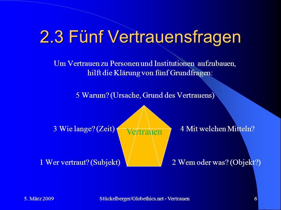 2.3 Fünf Vertrauensfragen Um Vertrauen zu Personen und Institutionen aufzubauen, hilft die Klärung von fünf Grundfragen: 5 Warum? (Ursache, Grund des