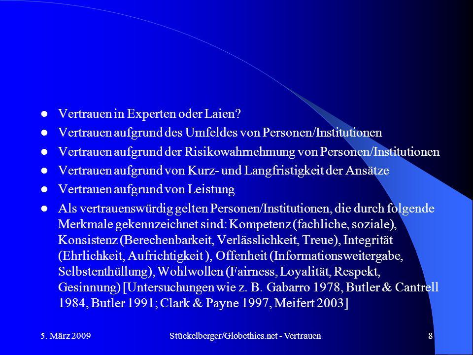 Vertrauen in Experten oder Laien? Vertrauen aufgrund des Umfeldes von Personen/Institutionen Vertrauen aufgrund der Risikowahrnehmung von Personen/Ins