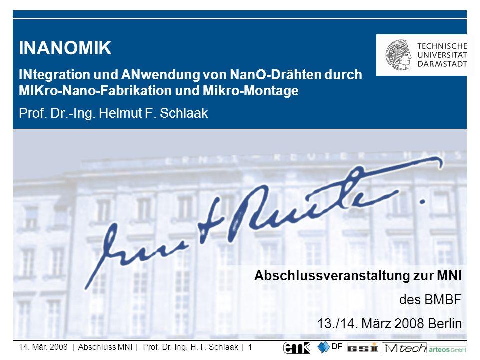 14. Mär. 2008 | Abschluss MNI | Prof. Dr.-Ing. H. F. Schlaak | 1 INANOMIK INtegration und ANwendung von NanO-Drähten durch MIKro-Nano-Fabrikation und