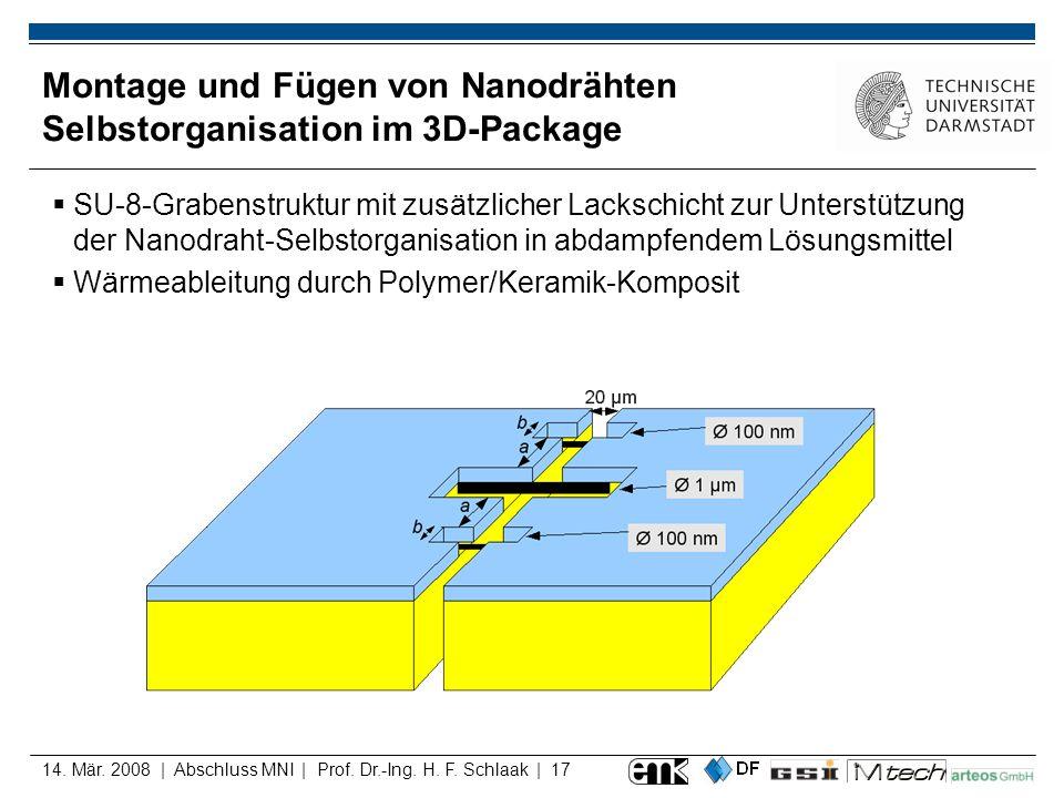 14. Mär. 2008 | Abschluss MNI | Prof. Dr.-Ing. H. F. Schlaak | 17 SU-8-Grabenstruktur mit zusätzlicher Lackschicht zur Unterstützung der Nanodraht-Sel