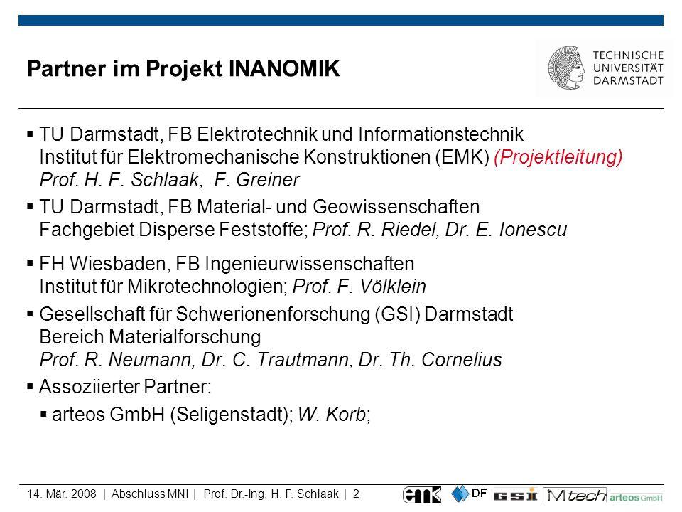 14. Mär. 2008 | Abschluss MNI | Prof. Dr.-Ing. H. F. Schlaak | 2 Partner im Projekt INANOMIK TU Darmstadt, FB Elektrotechnik und Informationstechnik I