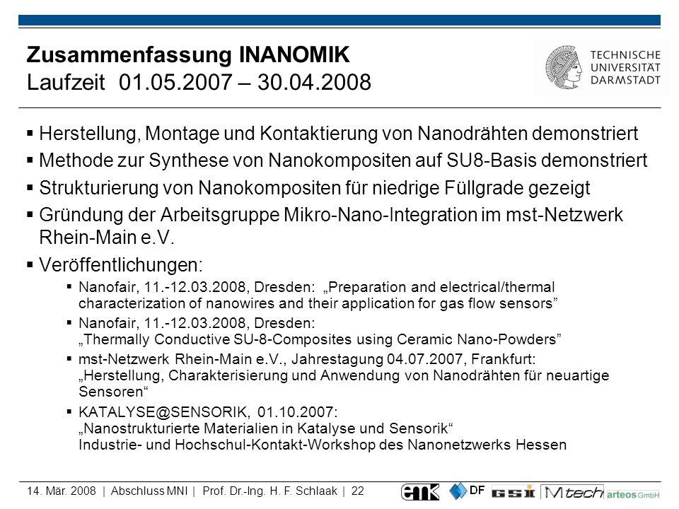 14. Mär. 2008 | Abschluss MNI | Prof. Dr.-Ing. H. F. Schlaak | 22 Zusammenfassung INANOMIK Laufzeit 01.05.2007 – 30.04.2008 Herstellung, Montage und K
