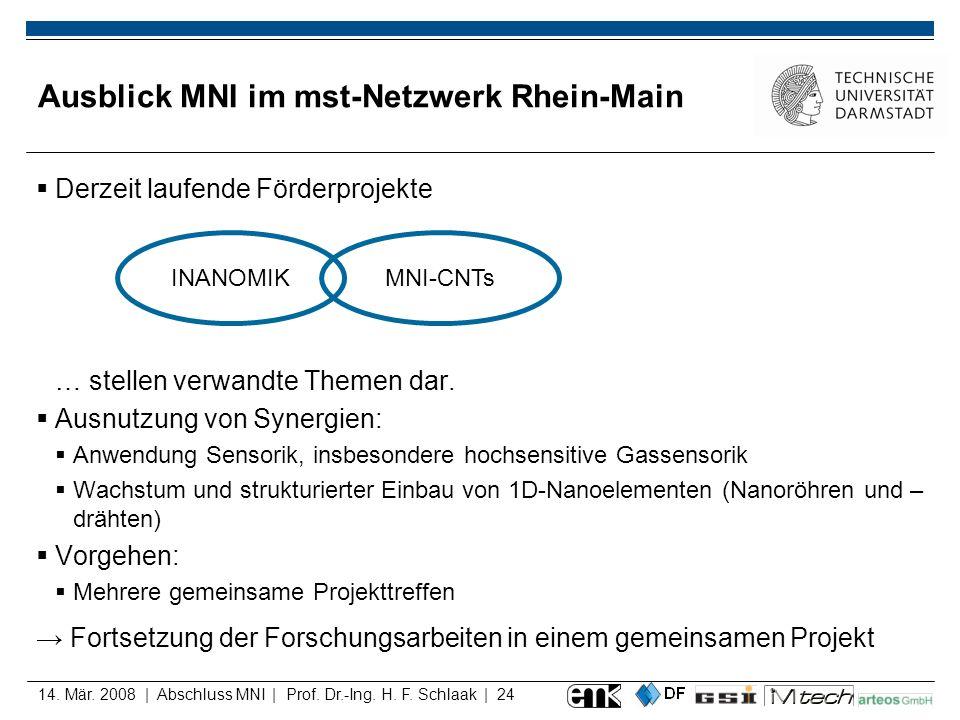 14. Mär. 2008 | Abschluss MNI | Prof. Dr.-Ing. H. F. Schlaak | 24 Ausblick MNI im mst-Netzwerk Rhein-Main Derzeit laufende Förderprojekte … stellen ve