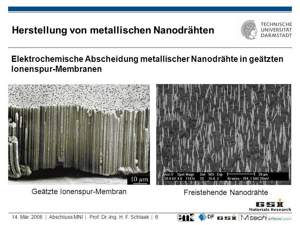 14. Mär. 2008 | Abschluss MNI | Prof. Dr.-Ing. H. F. Schlaak | 6 Herstellung von metallischen Nanodrähten Elektrochemische Abscheidung metallischer Na
