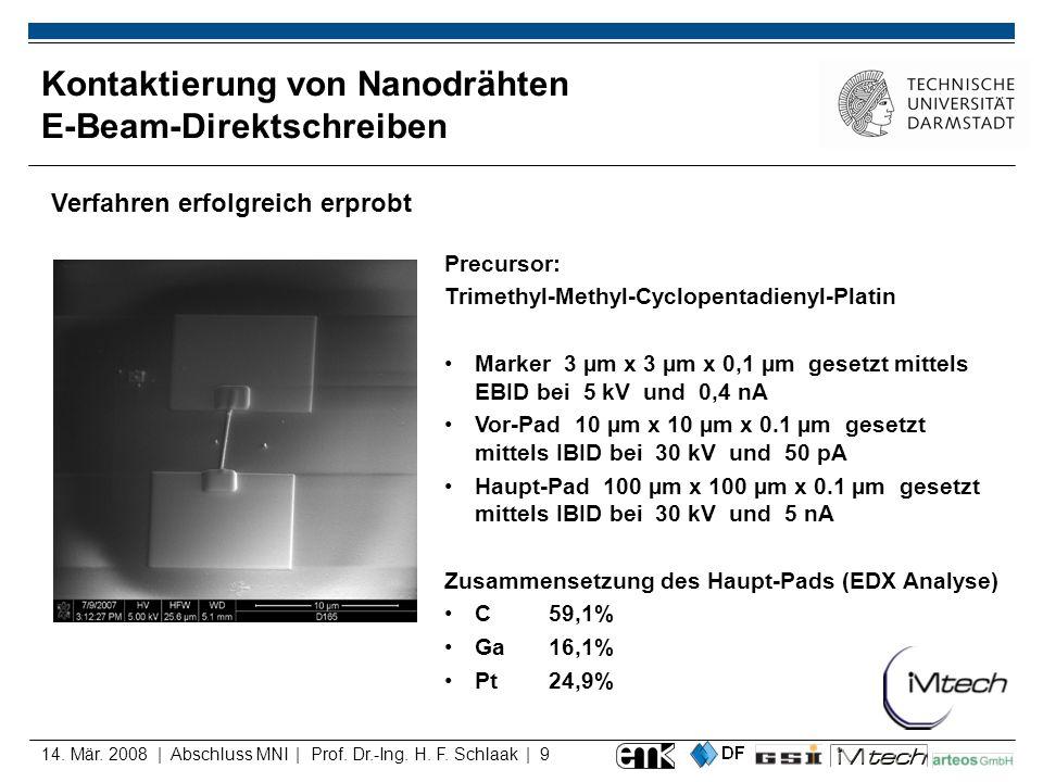 14. Mär. 2008 | Abschluss MNI | Prof. Dr.-Ing. H. F. Schlaak | 9 Kontaktierung von Nanodrähten E-Beam-Direktschreiben Verfahren erfolgreich erprobt Pr
