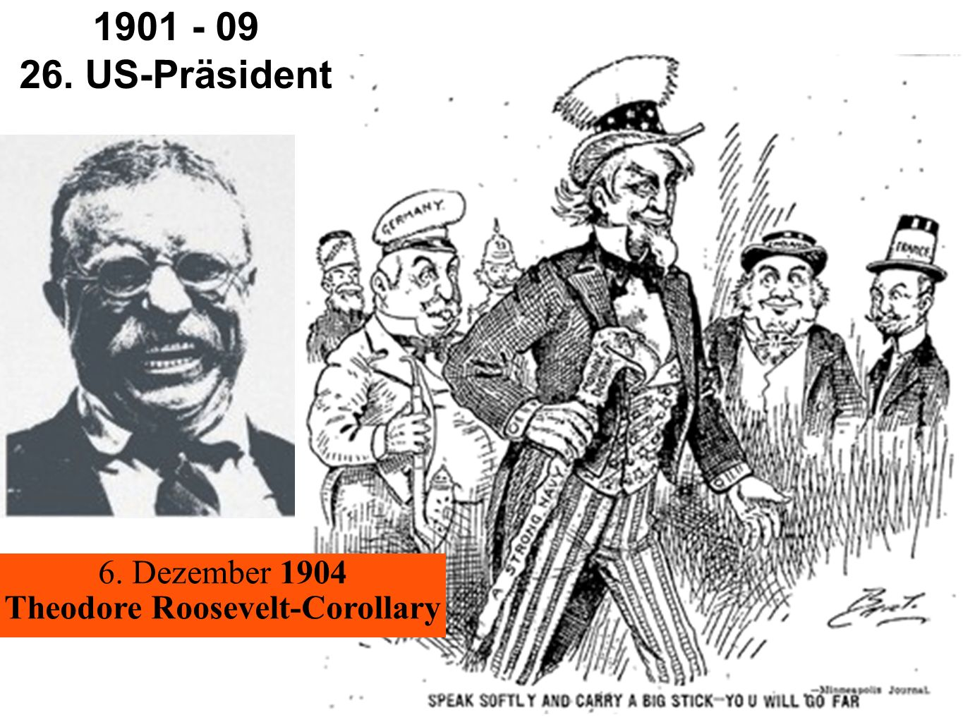 You will go far 1901 - 09 26. US-Präsident 6. Dezember 1904 Theodore Roosevelt-Corollary