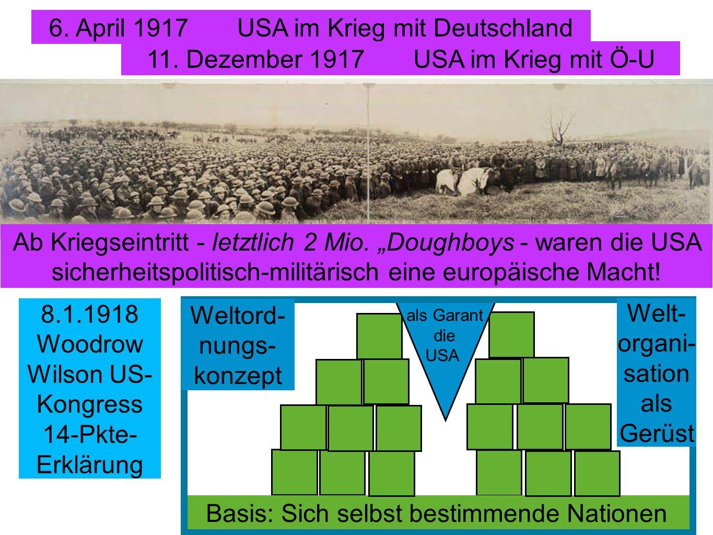 6. April 1917 USA im Krieg mit Deutschland 11. Dezember 1917 USA im Krieg mit Ö-U Ab Kriegseintritt - letztlich 2 Mio. Doughboys - waren die USA siche
