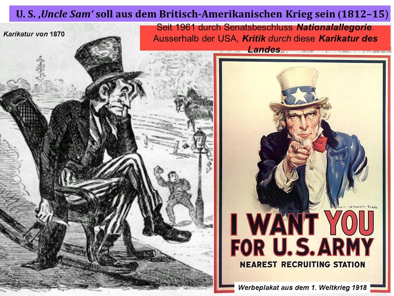 Im August 1814 fackeln die Briten die öffentlichen Gebäude in Washington ab Karikatur von 1870 U. S.,Uncle Sam soll aus dem Britisch-Amerikanischen Kr