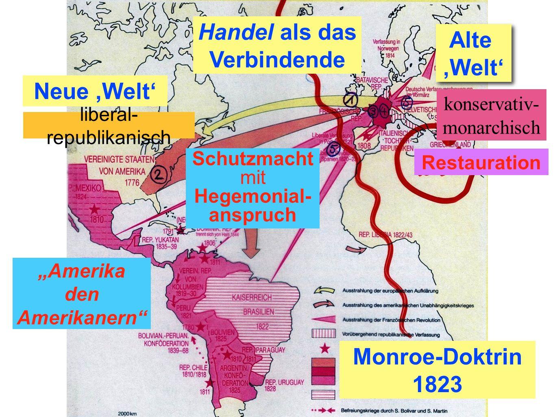 Amerika den Amerikanern Monroe-Doktrin 1823 Restauration Neue,Welt Alte,Welt Alte,Welt liberal- republikanisch konservativ- monarchisch Schutzmacht mi