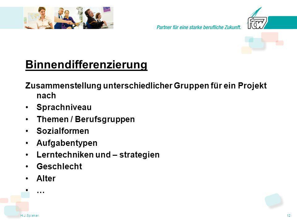 H.J.Spieker12 Binnendifferenzierung Zusammenstellung unterschiedlicher Gruppen für ein Projekt nach Sprachniveau Themen / Berufsgruppen Sozialformen Aufgabentypen Lerntechniken und – strategien Geschlecht Alter …