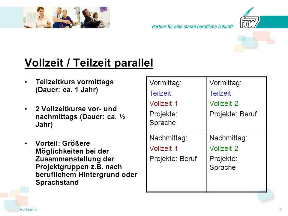 H.J.Spieker13 Vollzeit / Teilzeit parallel Teilzeitkurs vormittags (Dauer: ca.
