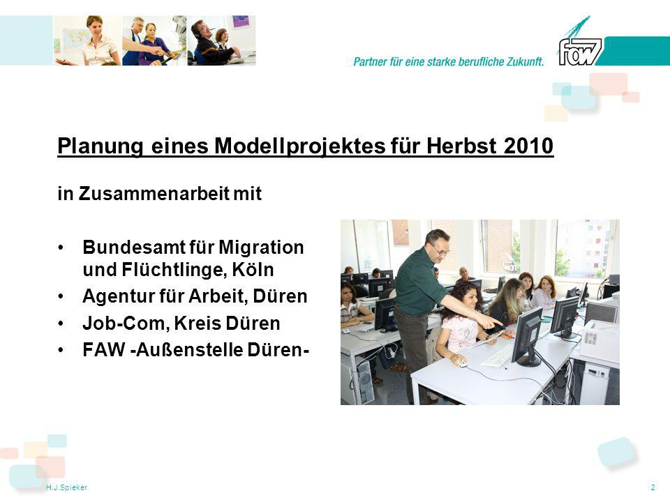 H.J.Spieker2 Planung eines Modellprojektes für Herbst 2010 in Zusammenarbeit mit Bundesamt für Migration und Flüchtlinge, Köln Agentur für Arbeit, Düren Job-Com, Kreis Düren FAW -Außenstelle Düren-