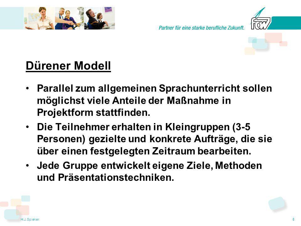 H.J.Spieker5 Dürener Modell Parallel zum allgemeinen Sprachunterricht sollen möglichst viele Anteile der Maßnahme in Projektform stattfinden.