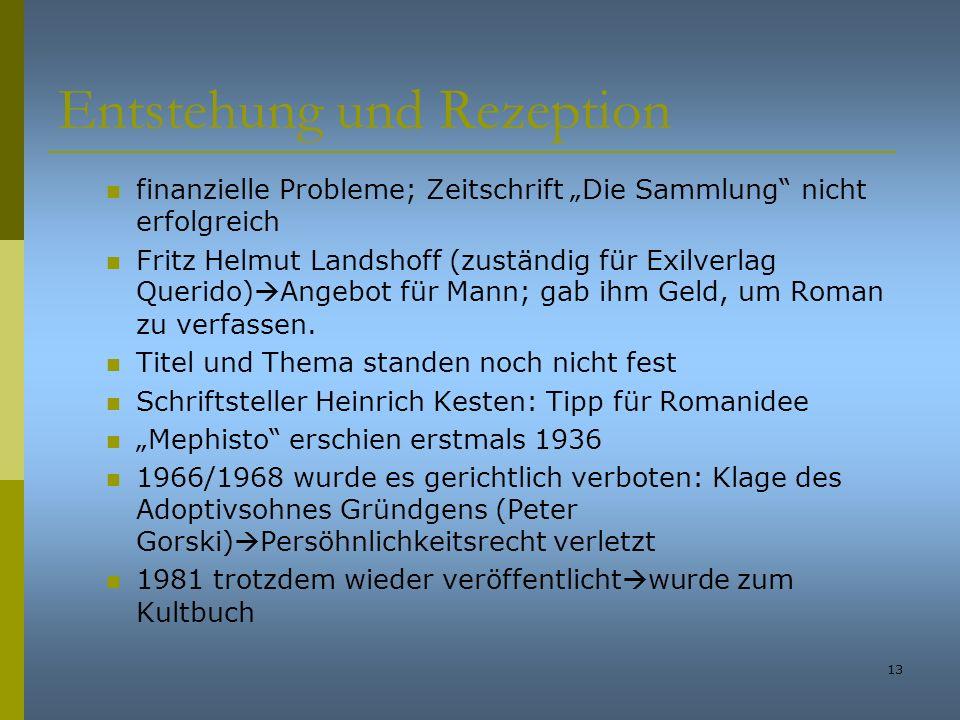 13 Entstehung und Rezeption finanzielle Probleme; Zeitschrift Die Sammlung nicht erfolgreich Fritz Helmut Landshoff (zuständig für Exilverlag Querido)