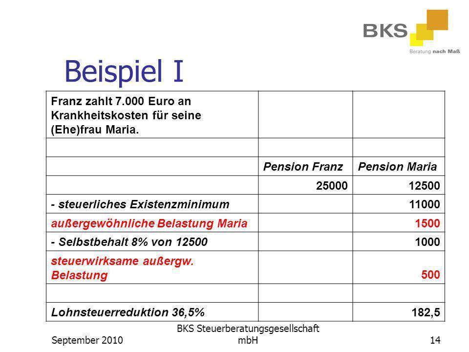 September 2010 BKS Steuerberatungsgesellschaft mbH14 Beispiel I Franz zahlt 7.000 Euro an Krankheitskosten für seine (Ehe)frau Maria. Pension FranzPen
