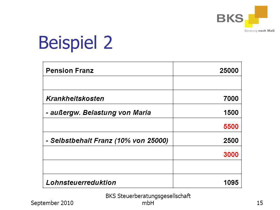 September 2010 BKS Steuerberatungsgesellschaft mbH15 Beispiel 2 Pension Franz25000 Krankheitskosten7000 - außergw. Belastung von Maria1500 5500 - Selb