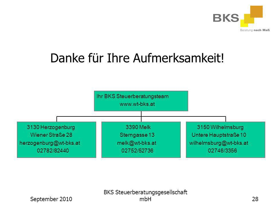 September 2010 BKS Steuerberatungsgesellschaft mbH28 Danke für Ihre Aufmerksamkeit! 3130 Herzogenburg Wiener Straße 28 herzogenburg@wt-bks.at 02782/82