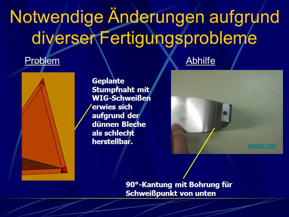ProblemAbhilfe Notwendige Änderungen aufgrund diverser Fertigungsprobleme 90°-Kantung mit Bohrung für Schweißpunkt von unten Geplante Stumpfnaht mit W