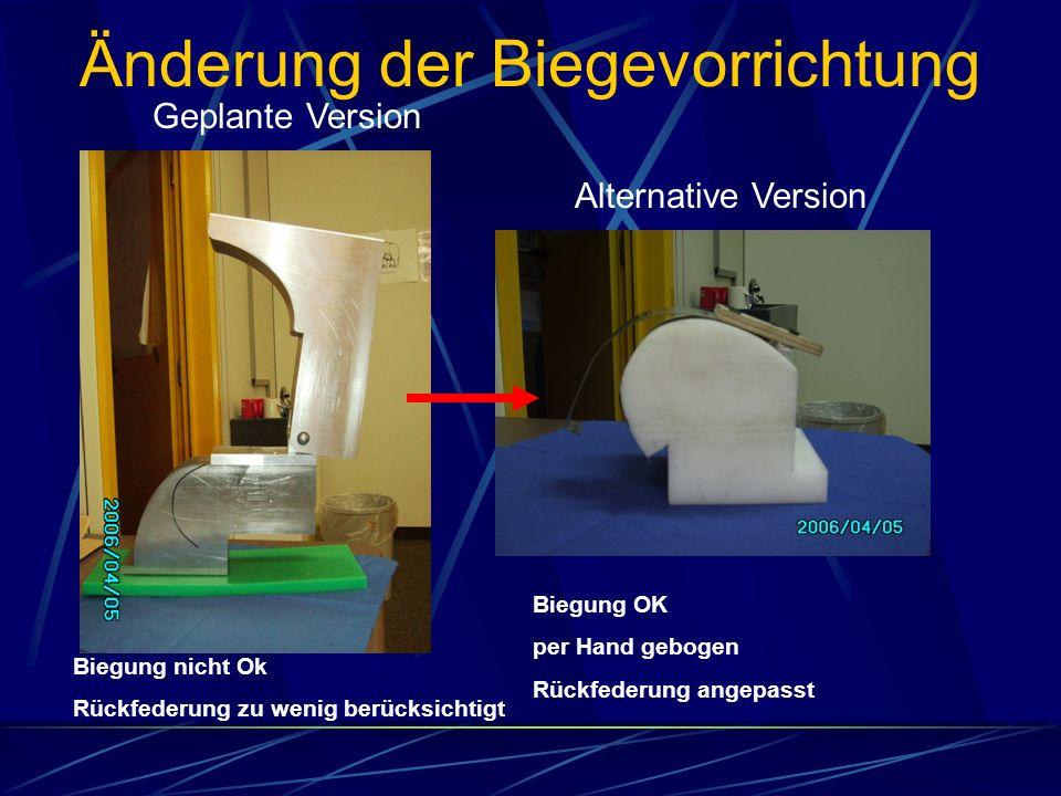 Änderung der Biegevorrichtung Geplante Version Alternative Version Biegung nicht Ok Rückfederung zu wenig berücksichtigt Biegung OK per Hand gebogen R