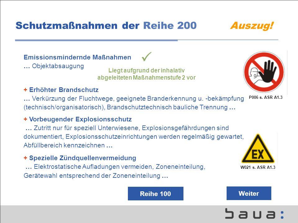 Schutzmaßnahmen der Reihe 200 Auszug! P006 s. ASR A1.3 W021 s. ASR A1.3 Emissionsmindernde Maßnahmen … Objektabsaugung + Erhöhter Brandschutz … Verkür