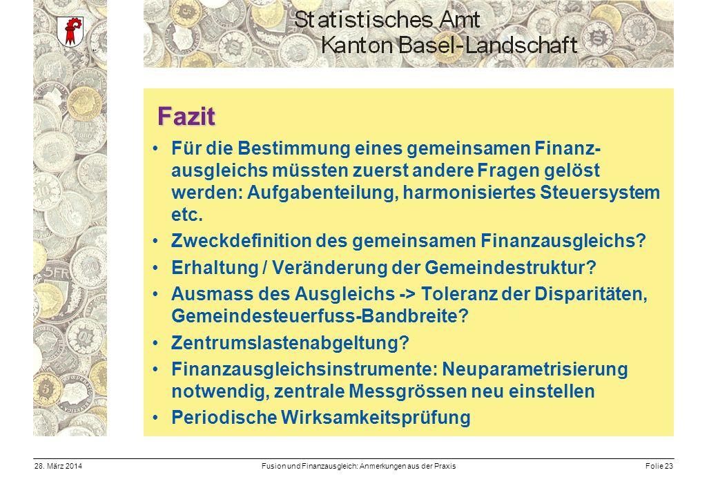Fusion und Finanzausgleich: Anmerkungen aus der PraxisFolie 2328.