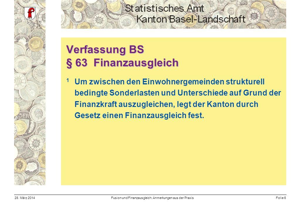 Fusion und Finanzausgleich: Anmerkungen aus der PraxisFolie 628.