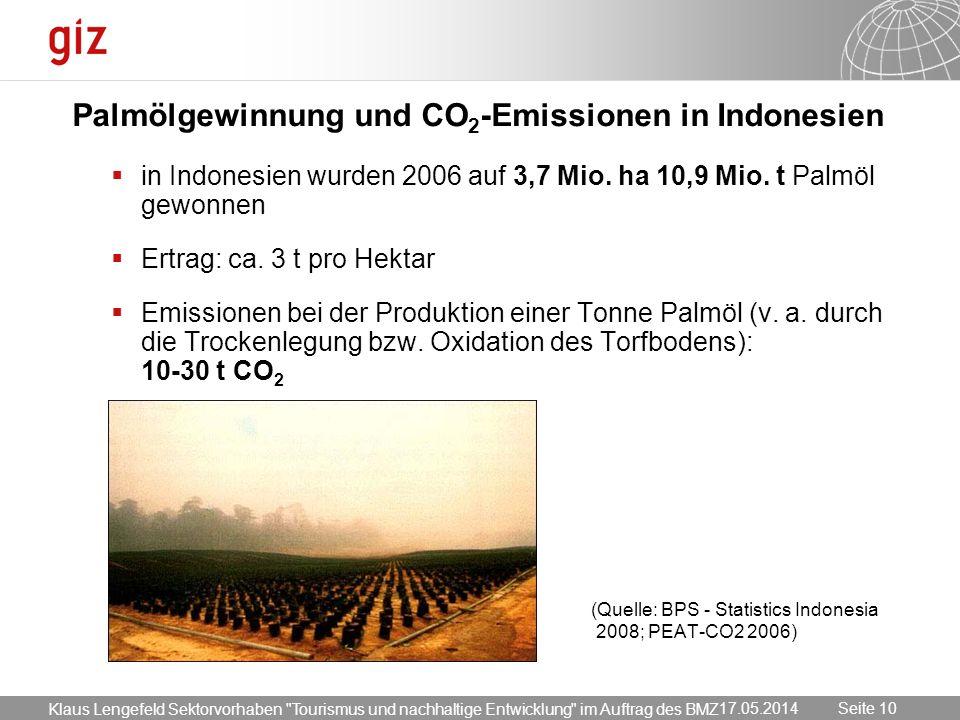 17.05.2014 Seite 10 Seite 10 Palmölgewinnung und CO 2 -Emissionen in Indonesien in Indonesien wurden 2006 auf 3,7 Mio. ha 10,9 Mio. t Palmöl gewonnen
