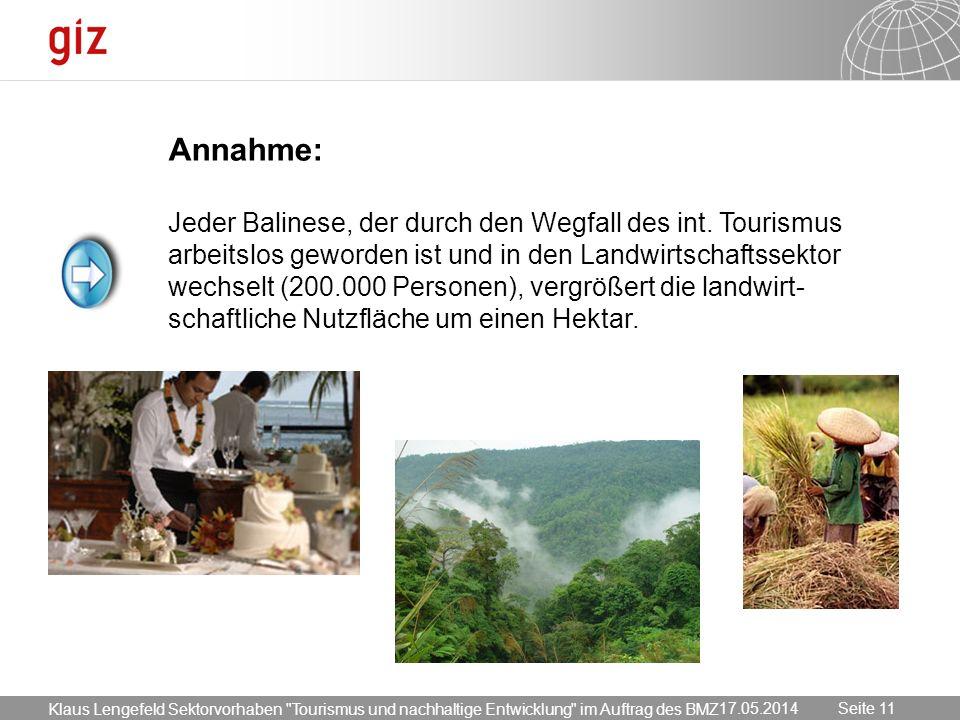 17.05.2014 Seite 11 Seite 1117.05.2014 Annahme: Jeder Balinese, der durch den Wegfall des int. Tourismus arbeitslos geworden ist und in den Landwirtsc