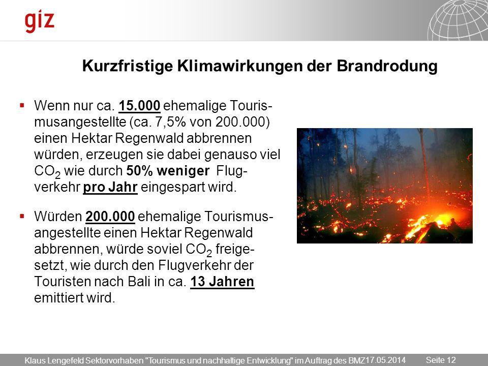 17.05.2014 Seite 12 Seite 12 Kurzfristige Klimawirkungen der Brandrodung Wenn nur ca. 15.000 ehemalige Touris- musangestellte (ca. 7,5% von 200.000) e
